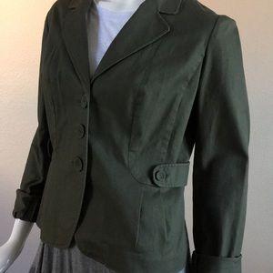 Jackets & Blazers - Cotton Blend Army Green Blazer